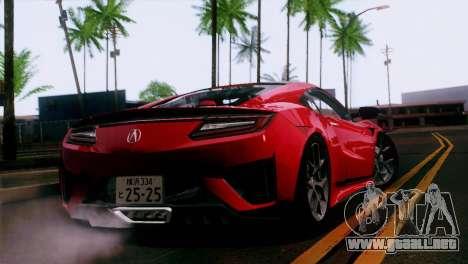 Acura NSX 2016 v1.0 JAP Plate para GTA San Andreas left