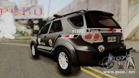 Toyota Hilux SW4 2014 ROTA para GTA San Andreas vista hacia atrás