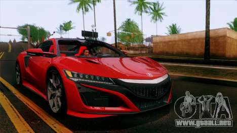 Acura NSX 2016 v1.0 JAP Plate para vista inferior GTA San Andreas