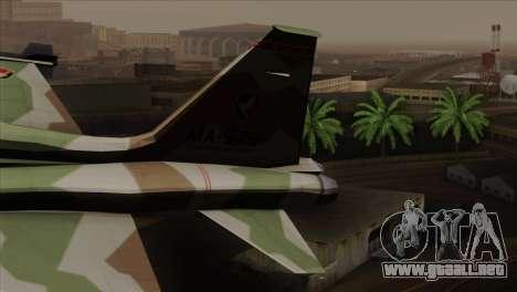 Northrop F-5 Estovakian Air Force para GTA San Andreas vista posterior izquierda
