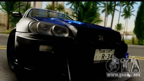 Nissan Skyline GT-R BNR34 Mio Akiyama Itasha para GTA San Andreas vista posterior izquierda