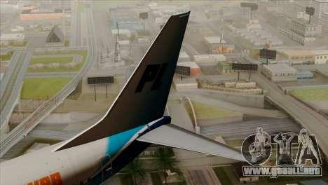 Boeing B737-800 Pilot Life Boeing Merge para GTA San Andreas vista posterior izquierda