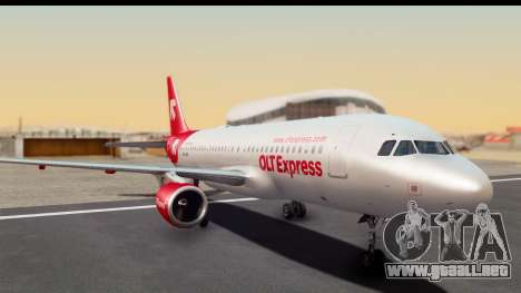 Airbus A320-200 OLT Express para GTA San Andreas vista posterior izquierda