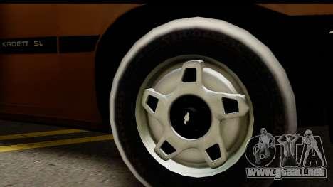 Chevrolet Kadett SL v2.0 para GTA San Andreas vista posterior izquierda