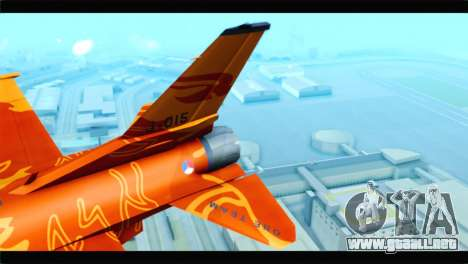 F-16D Fighting Falcon Dutch Demo Team J-015 para GTA San Andreas vista posterior izquierda