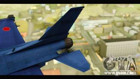 Mitsubishi F-2A JASDF Blue v2.0 para GTA San Andreas vista posterior izquierda