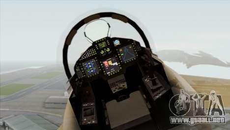 Eurofighter Typhoon Tropical Camo para GTA San Andreas vista hacia atrás
