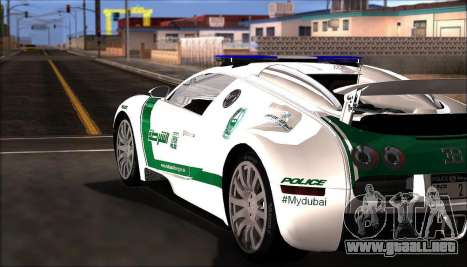 Bugatti Veyron 16.4 La Policía De Dubai 2009 para GTA San Andreas vista posterior izquierda
