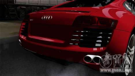 Audi R8 v2 para GTA San Andreas vista hacia atrás