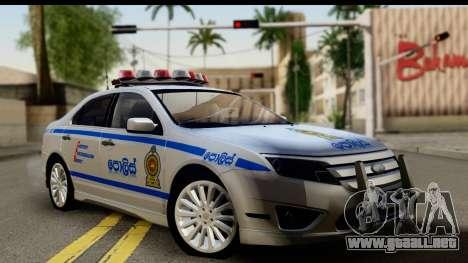 Ford Fusion 2011 Sri Lanka Police para GTA San Andreas