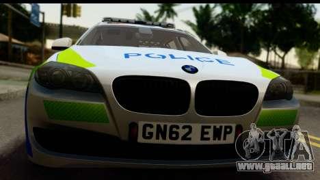 BMW 530d Kent Police RPU para GTA San Andreas vista posterior izquierda