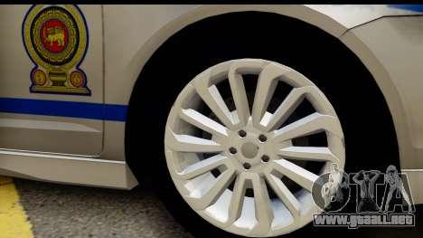 Ford Fusion 2011 Sri Lanka Police para GTA San Andreas vista hacia atrás