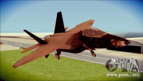 F-22 Raptor G1 Starscream para GTA San Andreas vista hacia atrás