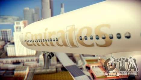 Airbus A340-300 Emirates para GTA San Andreas vista hacia atrás
