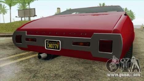 GTA 5 Declasse Stallion para GTA San Andreas vista hacia atrás