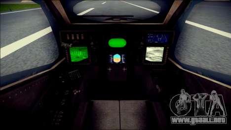 AH64 Apache MOHW para GTA San Andreas vista hacia atrás