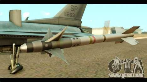 Lockheed Martin F-16C Fighting Falcon Warwolf para la visión correcta GTA San Andreas