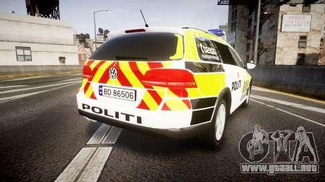 Volkswagen Passat B7 Police 2015 [ELS] marked para GTA 4 Vista posterior izquierda