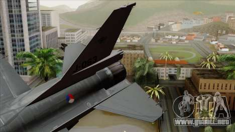 F-16AM Fighting Falcon para GTA San Andreas vista posterior izquierda