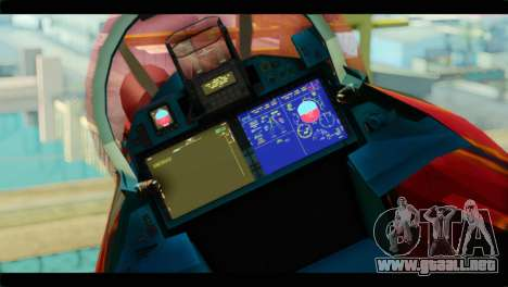 SU-35 Flanker-E Tekken para GTA San Andreas vista hacia atrás