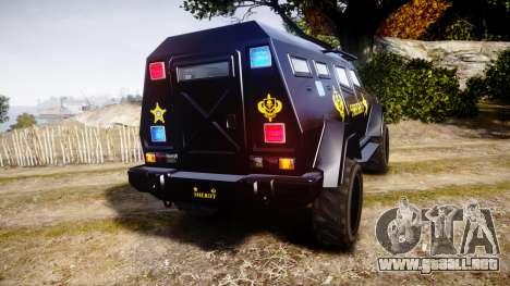 GTA V HVY Insurgent Pick-Up SWAT [ELS] para GTA 4 Vista posterior izquierda