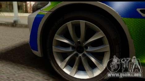 BMW 530d Kent Police RPU para GTA San Andreas vista hacia atrás