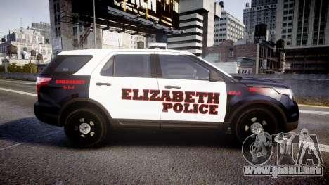 Ford Explorer 2011 Elizabeth Police [ELS] v2 para GTA 4 left