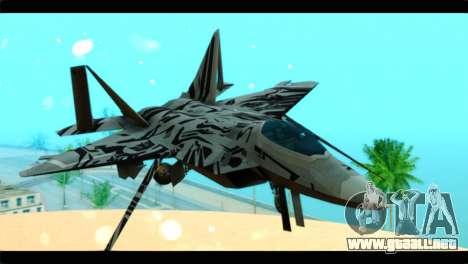 F-22 Raptor Starscream para GTA San Andreas vista hacia atrás
