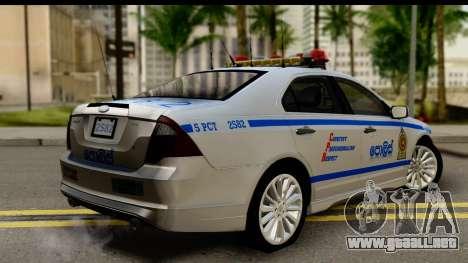 Ford Fusion 2011 Sri Lanka Police para GTA San Andreas left
