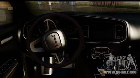 Dodge Charger RT 2015 Sword Art para visión interna GTA San Andreas