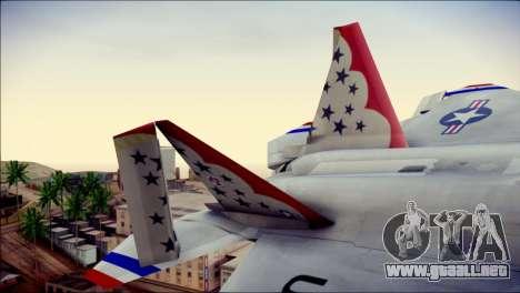 F-22 Raptor Thunderbirds para GTA San Andreas vista posterior izquierda