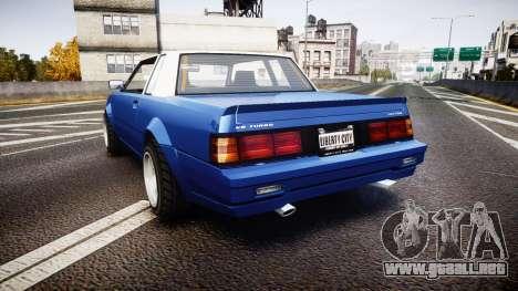 Willard Faction Turbo T para GTA 4 Vista posterior izquierda