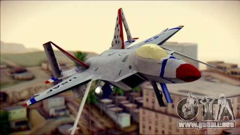 F-22 Raptor Thunderbirds para GTA San Andreas vista hacia atrás