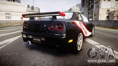 Nissan Skyline R34 GT-R Mines para GTA 4 Vista posterior izquierda