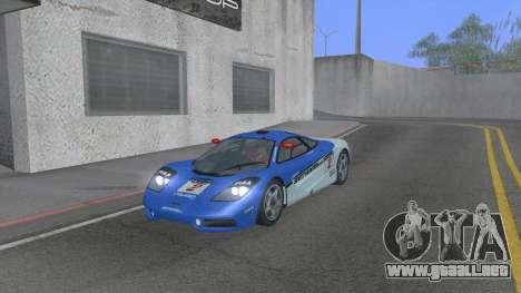 1992 McLaren F1 Clinic Model Custom Tunable v1.0 para la vista superior GTA San Andreas