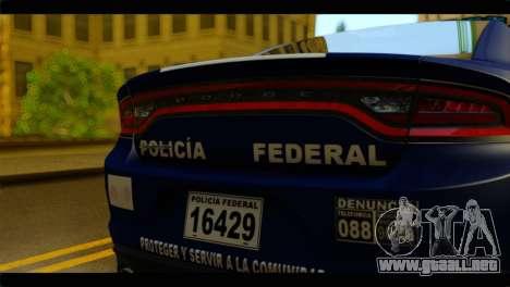 Dodge Charger 2015 Mexican Police para GTA San Andreas vista hacia atrás