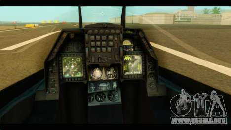 Lockheed Martin F-16C Fighting Falcon Warwolf para GTA San Andreas vista hacia atrás