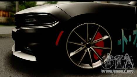 Dodge Charger RT 2015 Sword Art para GTA San Andreas vista hacia atrás