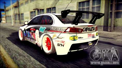 Mitsubishi Lancer Evolution X Juuzo Itasha para GTA San Andreas left