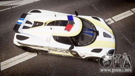Koenigsegg Agera 2013 Police [EPM] v1.1 PJ2 para GTA 4 visión correcta
