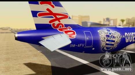 Airbus A320-200 AirAsia Queens Park Rangers para GTA San Andreas vista hacia atrás