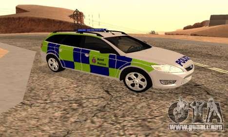Ford Mondeo De La Policía De Kent para GTA San Andreas vista posterior izquierda
