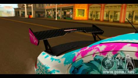 Mitsubishi Lancer Evolution X 2008 Miku Racing para GTA San Andreas vista hacia atrás