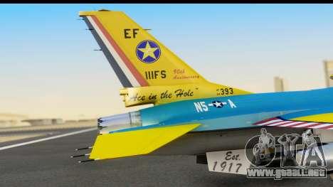 F-16C USAF 111th FS 90th Anniversary para GTA San Andreas vista hacia atrás