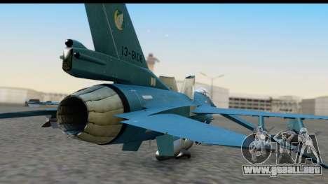 F-2A Viper Blue para GTA San Andreas vista hacia atrás