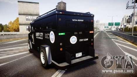 GTA V Brute Police Riot [ELS] skin 2 para GTA 4 Vista posterior izquierda