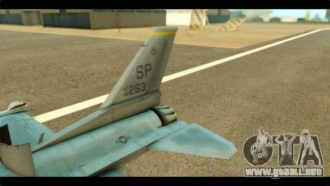 Lockheed Martin F-16C Fighting Falcon Warwolf para GTA San Andreas vista posterior izquierda