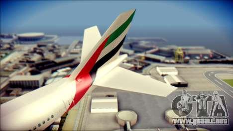 Airbus A340-300 Emirates para GTA San Andreas vista posterior izquierda