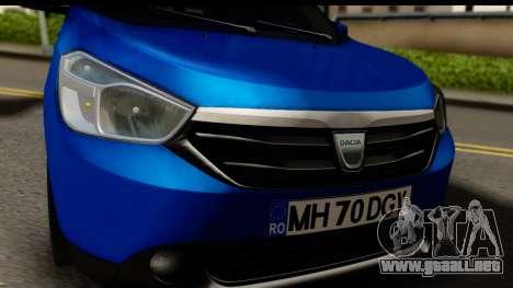 Dacia Lodgy 2014 para GTA San Andreas vista posterior izquierda