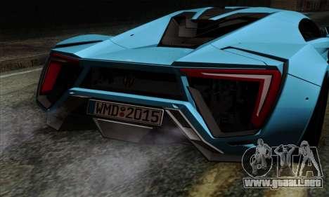 Lykan Hypersport 2014 EU Plate Livery Pack 1 para GTA San Andreas vista hacia atrás